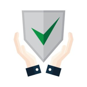 Vector Graphic of Hands Carrying Insurance Three Areas Shield check