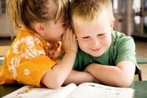 Girl And Boy Whispering Work Comp Secret Question Picture