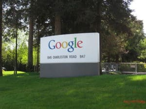 Googleplex Workers Comp Terms in Google Welcome sign