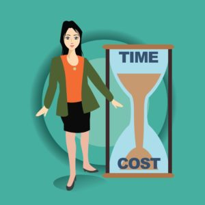 Vector Graphic of Woman Misconceptions Time Cost on Sand Clock