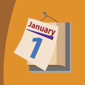 Vector Graphic of January 1 Renewal Date Calendar