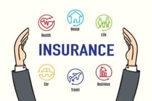 Vector of Workers Comp Agent Hand protect insurance feature icons