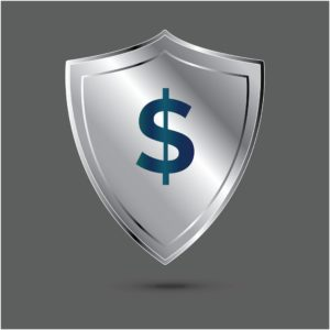 Grey Shield With Dollar Sign Insurance Designations Icon