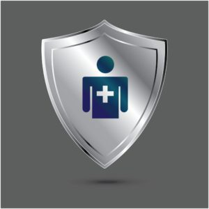 Grey Shied With Insurance Designations Cross Icon