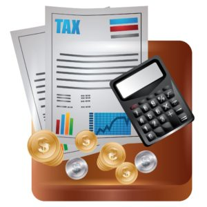 Vector Graphic of Captive Taxes and Calculator and Coins
