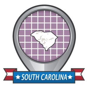 Map of South Carolina on the location icon