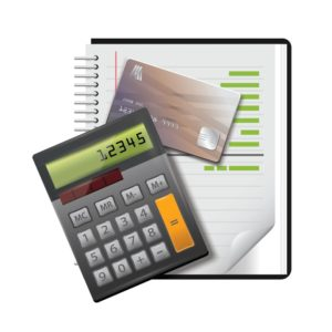 Vector Graphic of Calculator with credit card and books NCCI calculating
