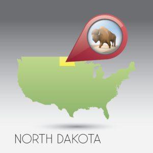 Map of North Dakota Conundrum With Location Icon