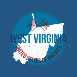 Map of West Virginia State Label Up Carrier Forum Blue Background