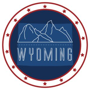Mountain Graphic Inside of Wyoming Workers Compensation System Emblem