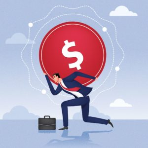 Vector Graphic of Man Fully Self-Insured carrying Dollar at the back