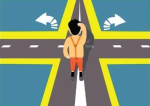 Vector Graphic of Man Making Decision Mandolodis Decision On Road Way