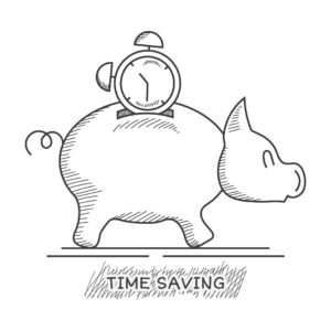 Drawing Of Piggy Bank Small Companies With Clock On Top Time Saving