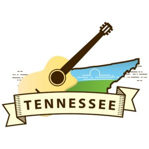 Map of Tennesseean with guitar