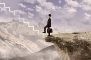 Illustration of Businessman Is Walking Up In Virtual Tairs Word of WARNING From Edge of mountain