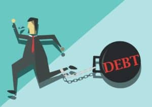 Vector graphic of man Workers Comp Crisis with Wrecking Ball Debt On Feet