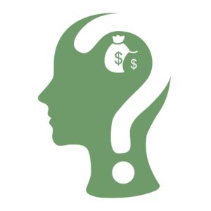 Green Human Head Vector Blog Reader And Question Mark And Dollar bags On Head