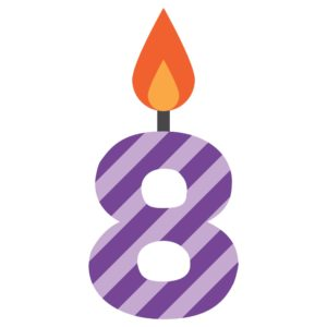 Graphic of Number Eight 10 Questions #8 Violet Stripe With Candle