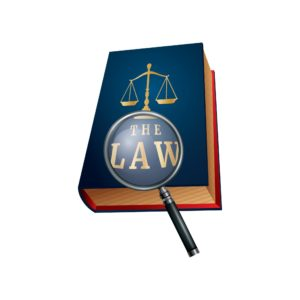 Vector illustration of book of law Independent Contractor with Magnifying GLass