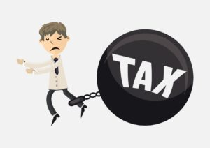 Vector of Independent Contractor With Wrecking Ball Tax On Feet