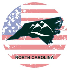 North Carolina Map Safety Council with Mountain Inside And Circle US flag Background