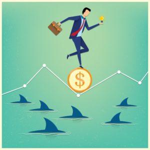 Vector Graphic Assigned Risk Plan Sharks Business man idea