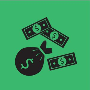 Vector Graphic of Dollars Icon Monopolistic Funds With Green Background