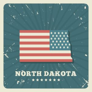 Map of North Dakota On USA flag