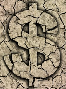 Graphic of Dollar Sign Overcharged On Dry Mud