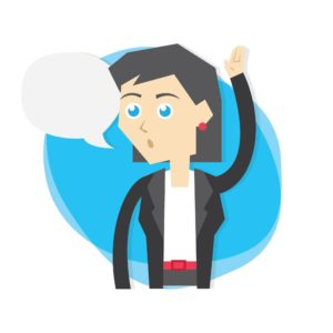 Vector Graphic of Woman Readers Question Raising Hand