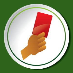 Graphics of hand holding red card Short Rate Penalty Concept