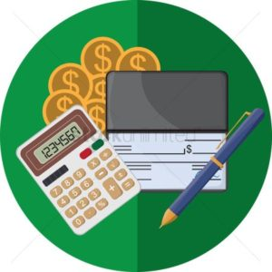 Vector Graphic of money calculator check and pen NCCI Rules calculating E-Mod