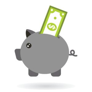 Vector of gray piggy bank and Save Money on top
