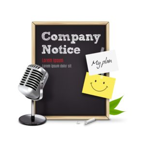 Graphic Chalkboard Company Payroll Audit Notice Microphone