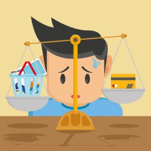 Vector graphic of worried man in the weighing scale Small Workers Comp Claim balancing gadget to credit card