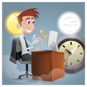Graphic Man Working Save Workers comp Premium Dollars Day Night Clock Background