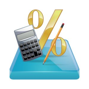 drawing of pencil calculator and percentage Small Claim Calculation Concept