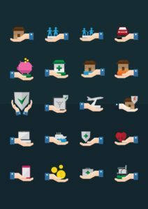 Icons of Workers Compensation Insurance with black background