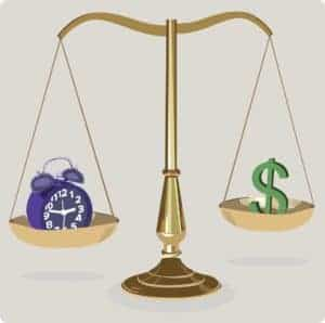 Vector Graphic of Law Scale Crunch Time And Dollar Sign