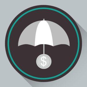 Vector Of Self Insureds Umbrella With Dollar Sign