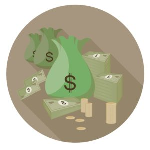 Vector Graphic Of Sacks of Money E-Mod And Coins