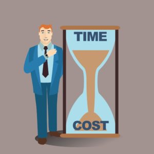 Vector Graphic of Businessman Small Deductible With Hourglass Time And Cost