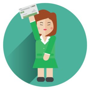 Vector Graphic of Woman Huge Concern Raising Payroll cheque