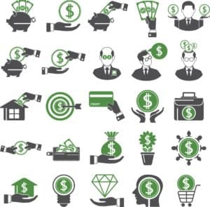 Vector Graphic Of Dollars Sign Immediately Lower workers comp premiums Icons
