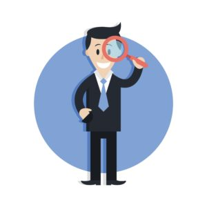 Vector Graphic of Man Misclassification Confusion Using Magnifying Glass