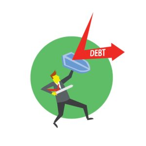 Vector Graphic of Man Defense of AIG Debt Holding Shield