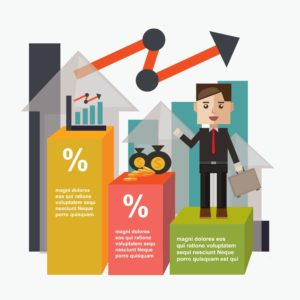 Vector Graphic of Businessman Standing Large Deductible Programs Infographic