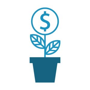 Vector Graphic of Plant Dollar Sign California Workers Compensation System In Blue Color