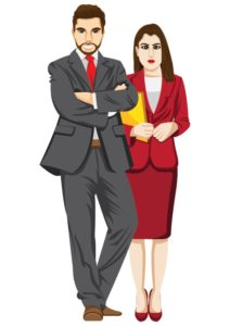 Vector Graphic Of Two Employers premium audits Man And Woman