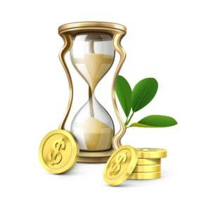 Vector Graphic Of Hour Glass Long Term Outlook And Gold Coins